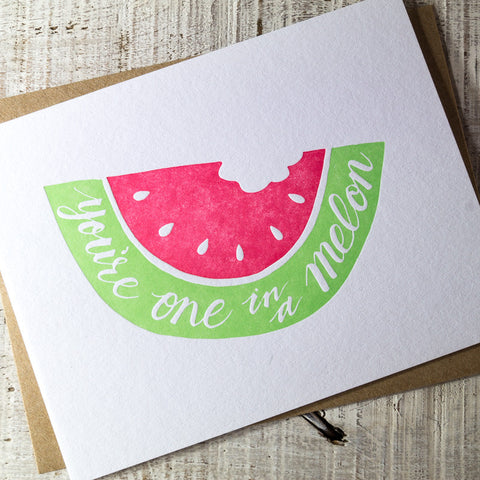 One in a Melon Letterpress Card