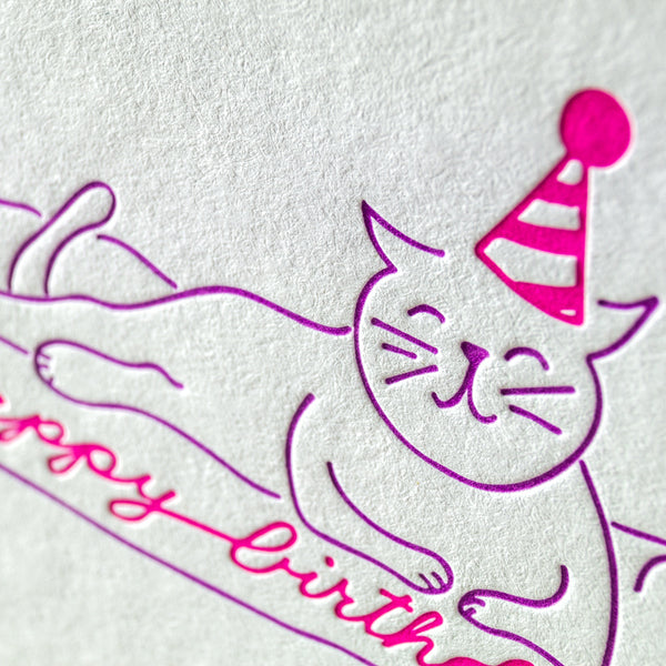 Cat Party Animal Happy Birthday Letterpress Card