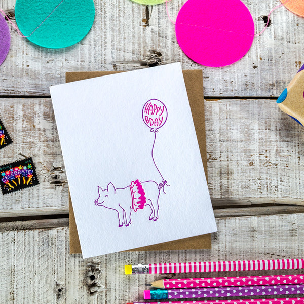 Pig Party Animal Happy Birthday Letterpress Card