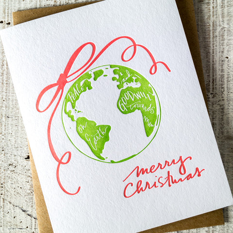 Peace On Earth Single Letterpress Card -OR- Pack of 6