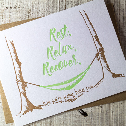 Rest, Relax, Recover Hammock Letterpress Card