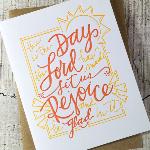 Rejoice & Be Glad Letterpress Card