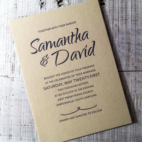 Eco-friendly, 100% Recycled Letterpress Wedding Invitations
