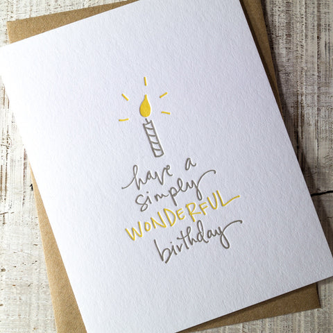 Simply Wonderful Birthday Letterpress Card