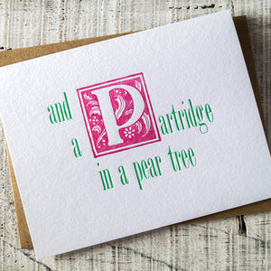 12 Days of Christmas Partridge in a Pear Tree Letterpress Card