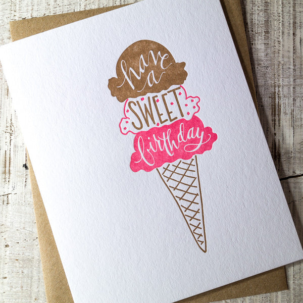 Sweet Birthday Ice Cream Letterpress Card