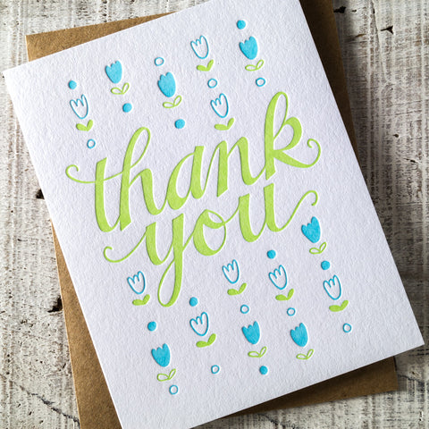 Thank You Tulips Letterpress Card