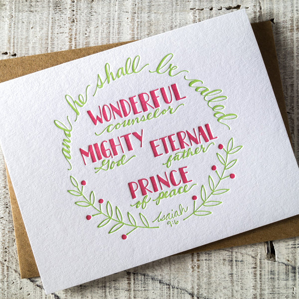 Wonderful Counselor Scripture Letterpress Christmas Card