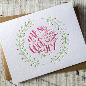 Good News of Great Joy Scripture Letterpress Christmas Card