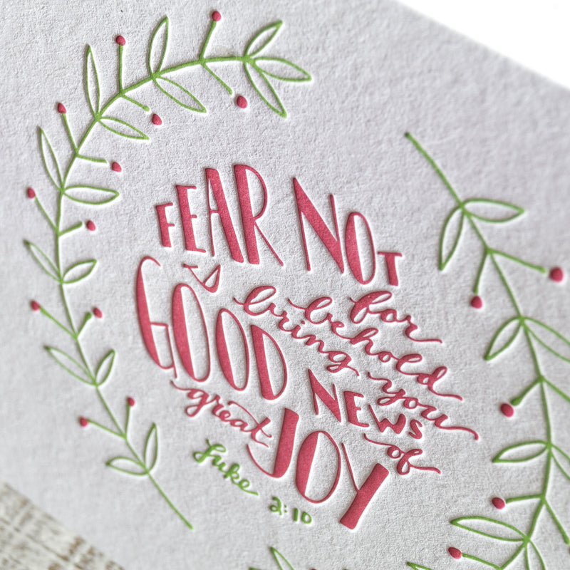 good news of great joy scripture letterpress christmas card - Christmas Card Scripture