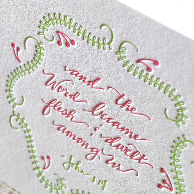 word became flesh scripture letterpress christmas card - Christmas Card Scripture