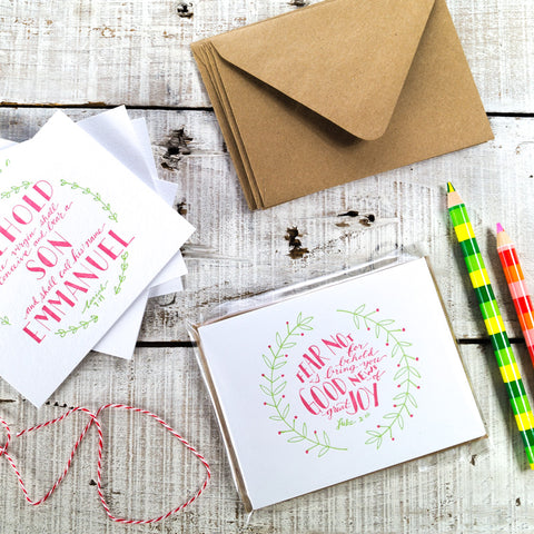 Christmas Wreath Scripture Letterpress Card Pack {Set of 4} Celebrate the Season