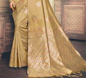 Granola shaded golden zari weaved Banarasi silk saree