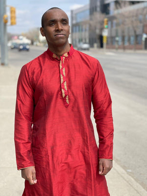 Imperial red shaded golden embroidery worked Chinese collar silk kurta pajama