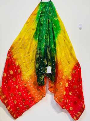 Yellow red and green combination original bandhni silk dupatta