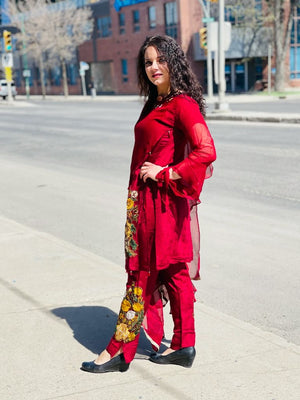 Berry red shaded with multi coloured floral sequins embroidered Designer suit