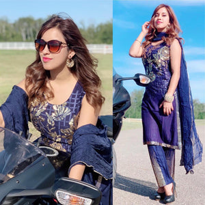 Navy blue shaded sequins embroidered Designer suit