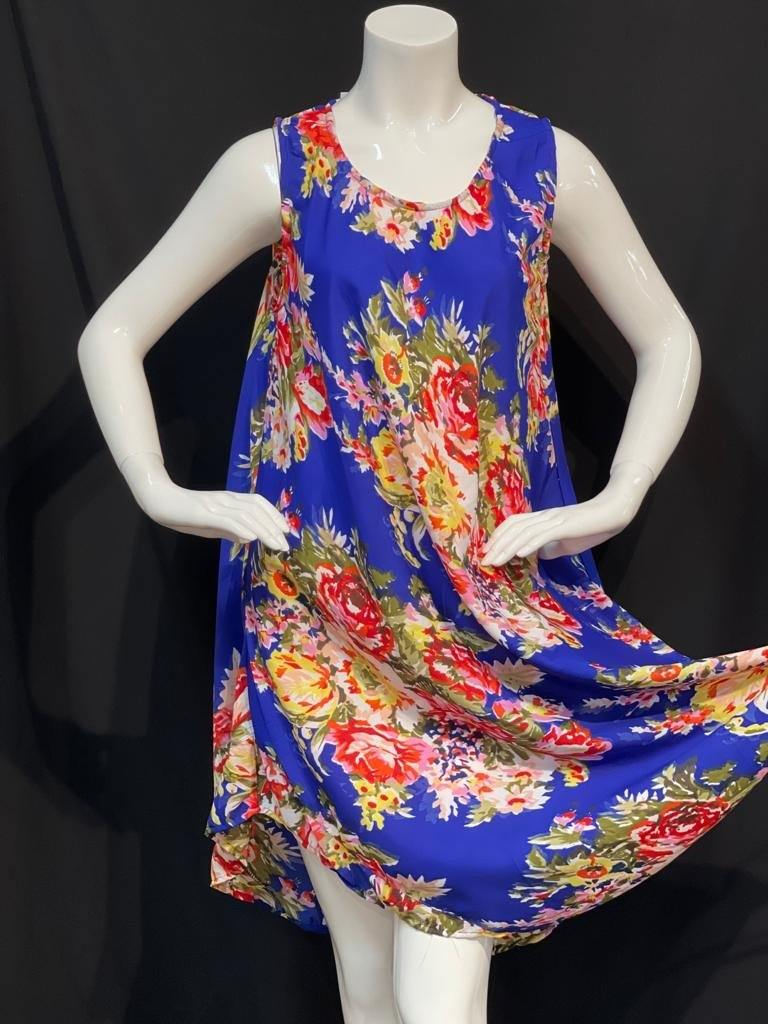 Egyptian blue with multi coloured floral printed summer dress