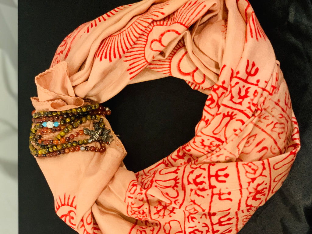 Biscotti shaded red mantra printed cotton summer scarf
