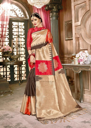 Red golden brown combination zari weaved Banarasi silk saree