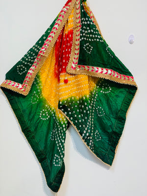 Forest green based yellow and red shaded original bandhni silk dupatta