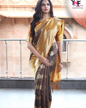 Cedar brown yellow golden zari weaved Banarasi silk saree