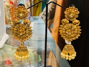 Golden south India jewellery design style Jhumka earrings