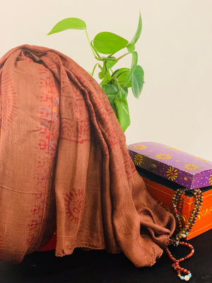 Cinnamon brown Mantra printed cotton scarf