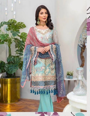 Maya blue shaded sequins embroidered Designer suit