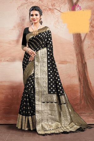Black shaded silver golden zari weaved silk saree