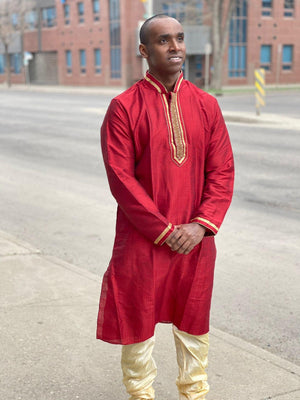 Imperial red shaded golden embroidered Chinese collar golden sleeves border silk kurta pajama