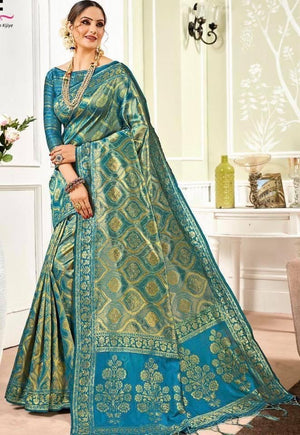 Ocean blue shaded golden zari weaved Banarasi silk saree
