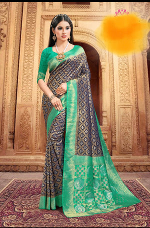 Navy blue golden diamond weaved Jade gree broad bordered silk saree