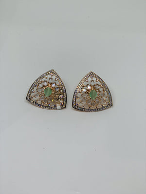 AD studded rose gold plated oversized stud earrings