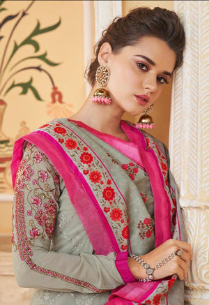 Seal grey with hot pink embroidered Designer suit