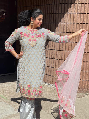 Cloud grey with hot pink embroidered-sequins floral motifs designer palazzo suits
