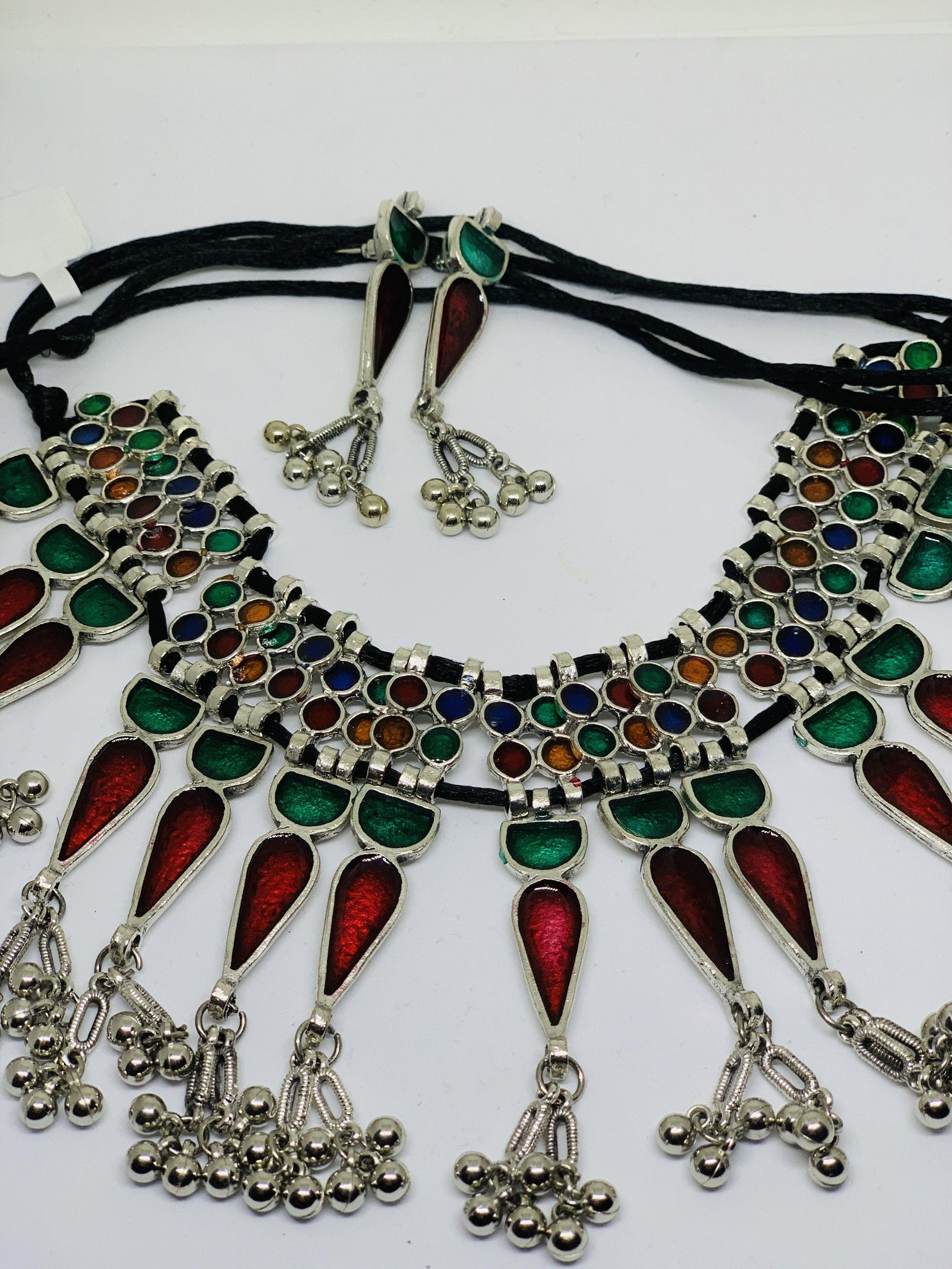 Oxidized silver meenakari designe boho style necklace set