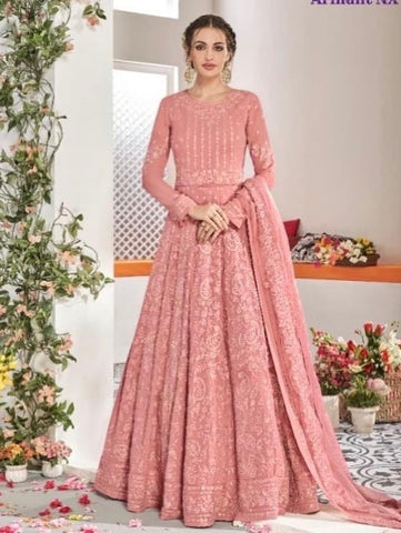 Coral colour full chikan work Anarkali suit