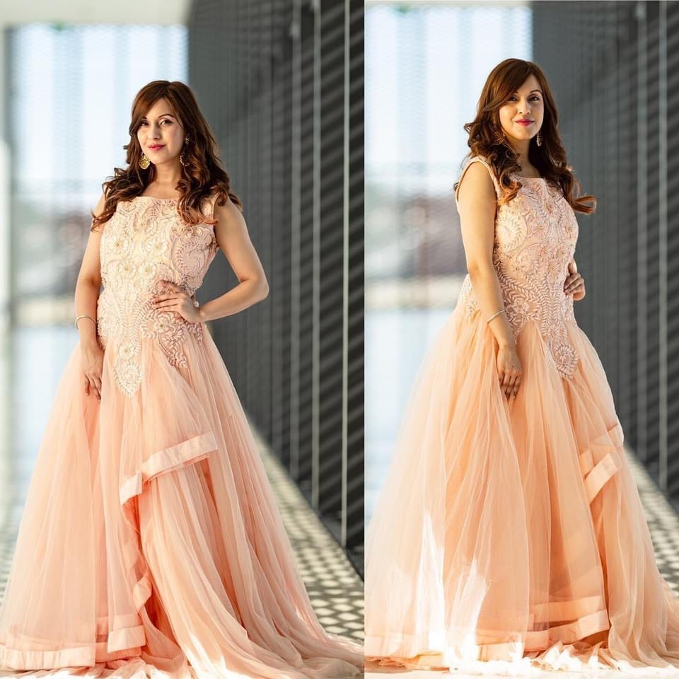Peach shaded sequins embroidered flared Long dress