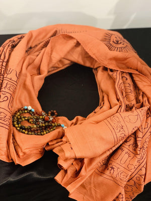Amber brown mantra printed cotton scarf