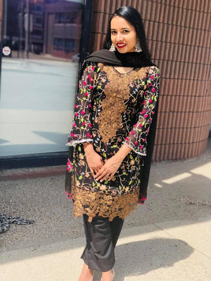 Black and copper sequins embroidered designer suit with dupatta