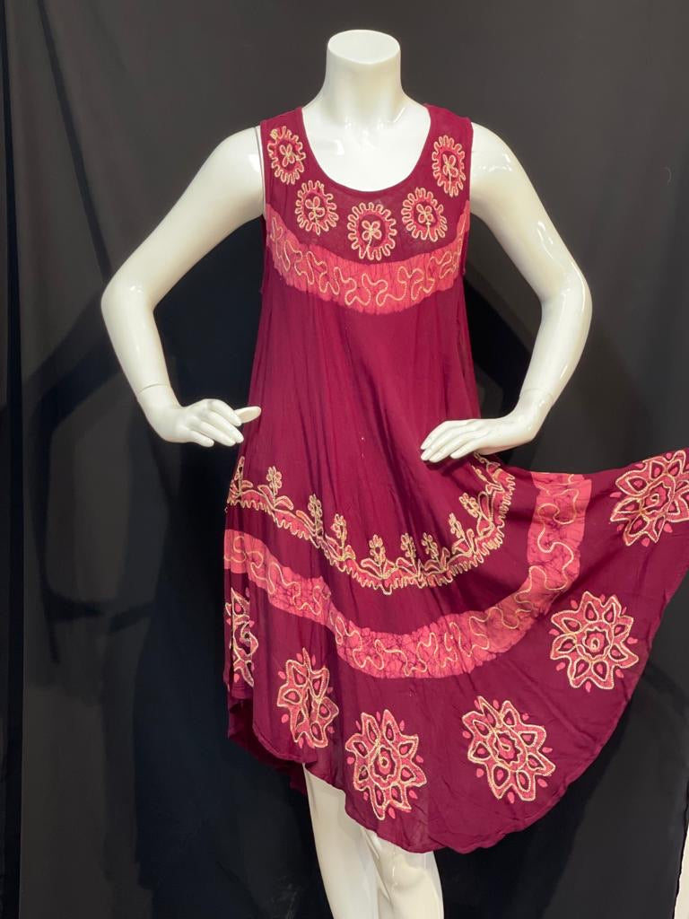 Vermillion red with minimalistic batik prints and embroidered summer dress