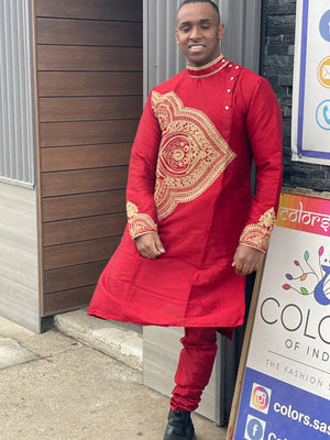Embroidery worked on silk red kurta pajama