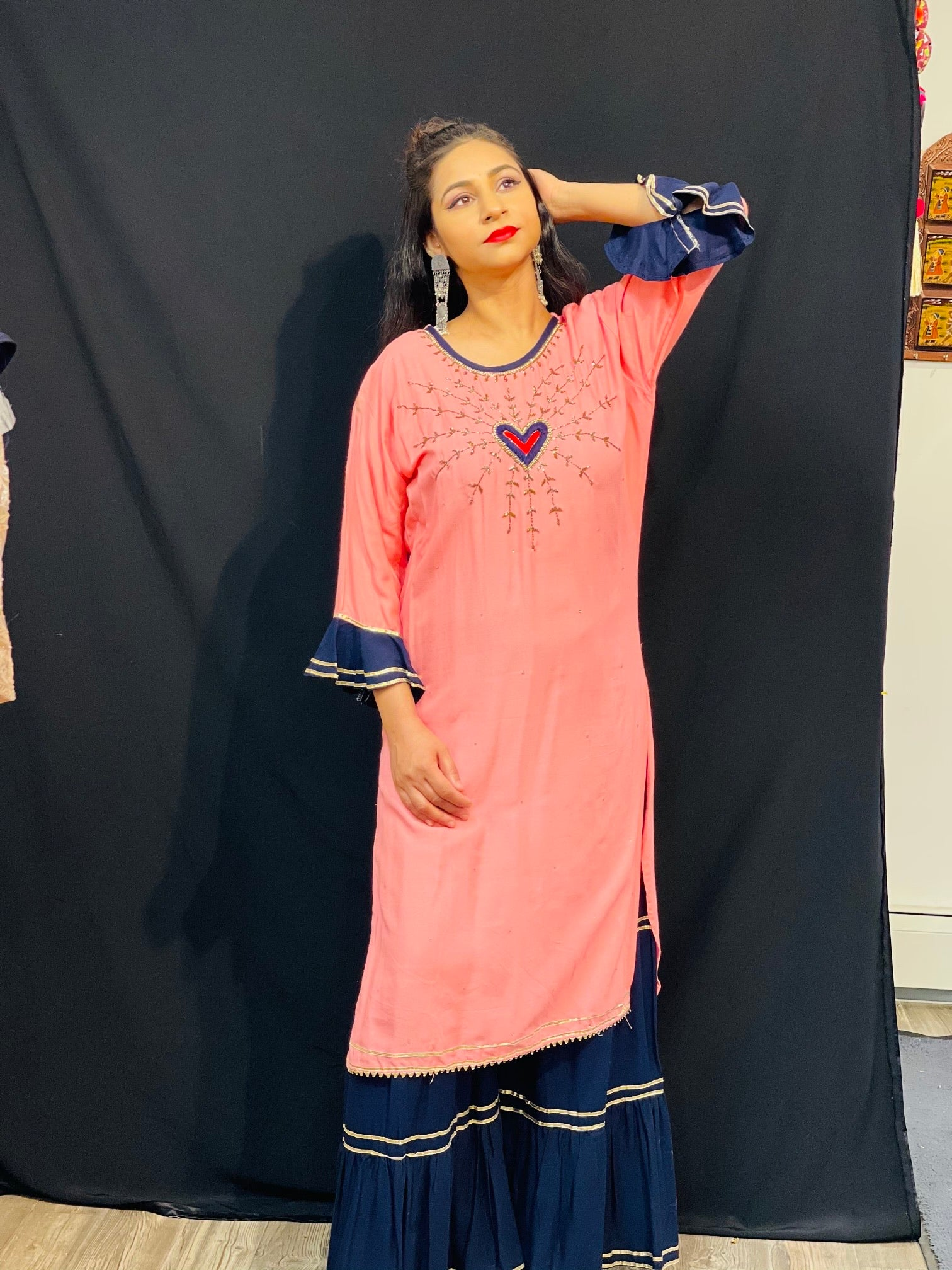 Peach shaded with navy blue sharara pants two piece suit