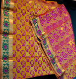 Gold & Pink Kanjeevaram Silk Saree