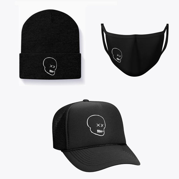 Big Bald Head Bundle: Beanie, Face Mask, and Trucker Hat (6536457027655)