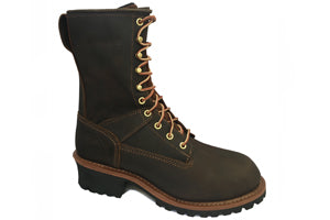 Men's Work Zone Waterproof Steel Toe Logger Work Boot #S950BRN