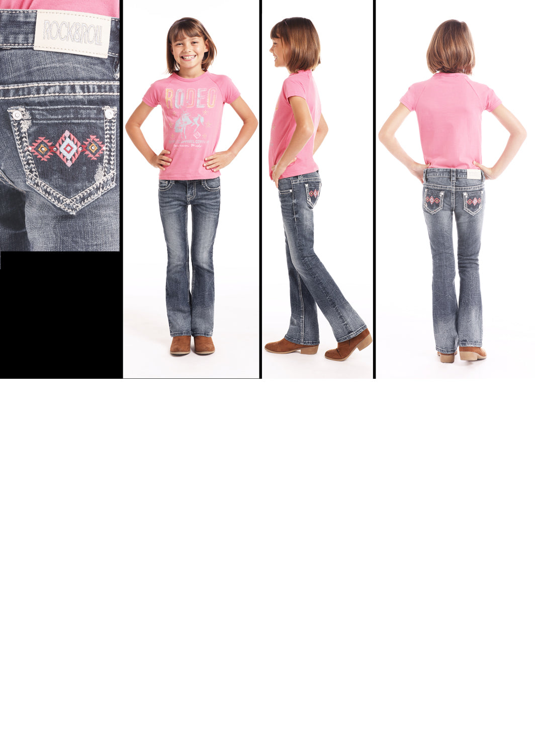 Girl's Rock & Roll Cowgirl Boot Cut Jean #G5-9226