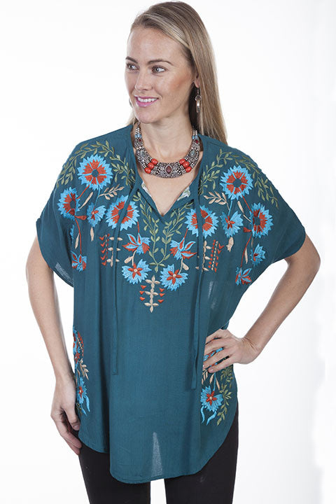 Women's Honey Creek by Scully Poncho Blouse #HC303TEA