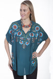 Women's Honey Creek by Scully Poncho Blouse #HC303TEA-C